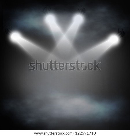 Background in show. Spotlight on smog - stock photo