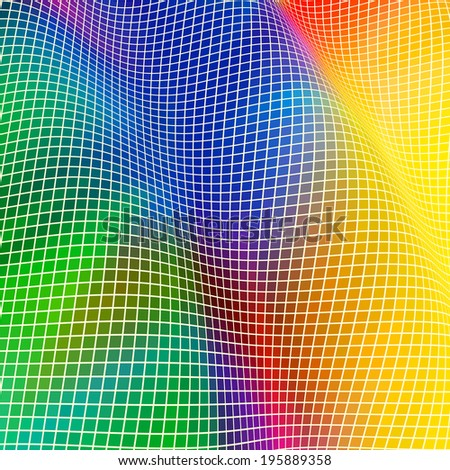 Background in the form of a wave from multi-colored squares; Raster Version