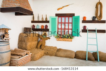 background interior design of an old country house, decorating the room inside the fireplace - stock photo