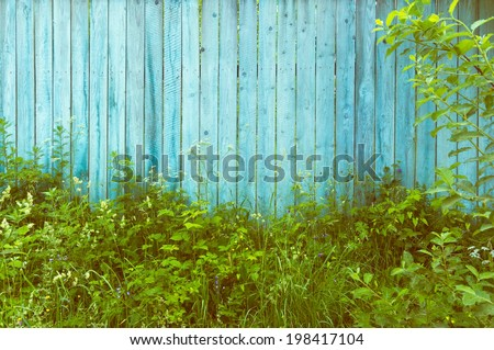 Background light blank wooden fence overgrown with tall grass in the countryside vertical - stock photo