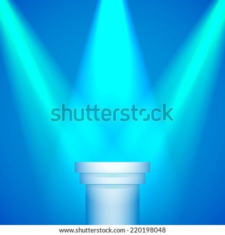 Background: Lights spotlights on a pedestal for your business product - stock photo
