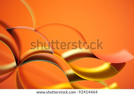 background macro image of colored origami pattern made of curved sheets of paper, with mirror reflexions - stock photo