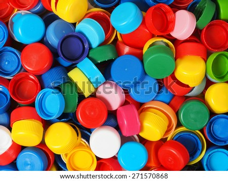 Background made from bottle screw caps. - stock photo