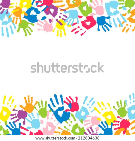 Background made from color handprints. - stock photo