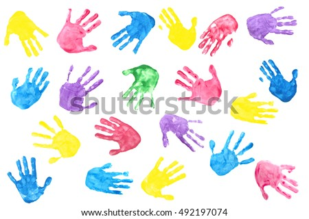 background made from color handprints of kids. Multicolor pattern for your design.