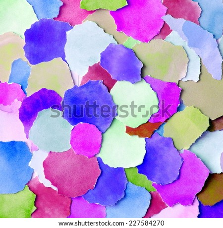 background made from colorful round  paper pieces - stock photo
