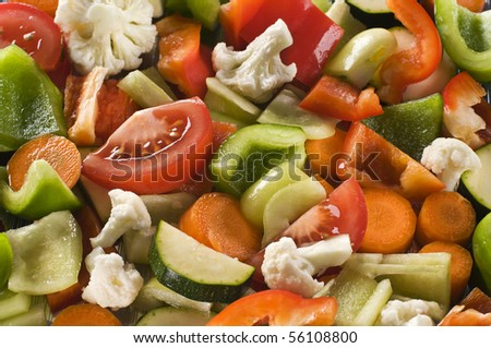 Background made from fresh slices of vegetables
