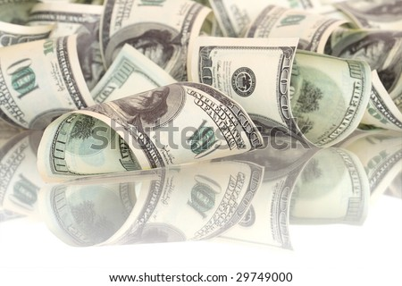 Background made from one hundred dollar banknotes (with clipping path)
