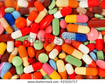 Background made from pills and capsules
