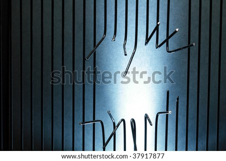 Background made from sawed metal bars with copy space - stock photo
