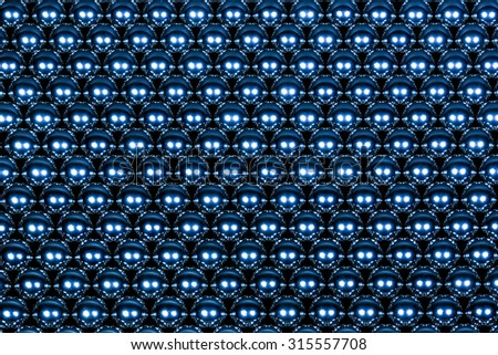background made of blue iron balls