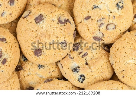 Background made of delicious chocolate chip cookies - stock photo