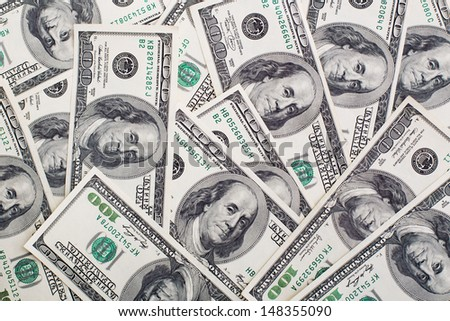 Background made of hundred dollar bills - stock photo