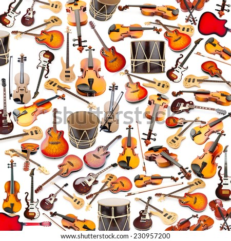 Background made of many musical instruments - stock photo