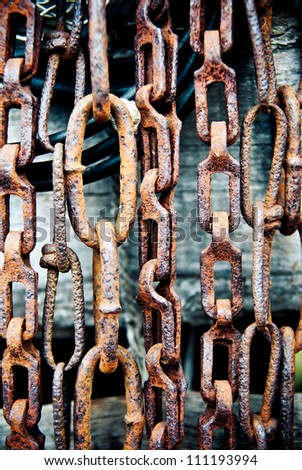 background made of old rusty chains - stock photo