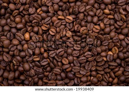 background made with coffee beans. Landscape orientation. - stock photo
