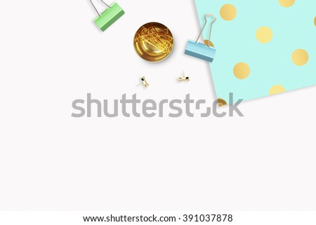 Background mock up. Hero and header for site. Flat lay. Stationery golden. Feminine scene. Woman modern desk top. Elegant background. Mint with gold polka dots pattern Flat lay. - stock photo