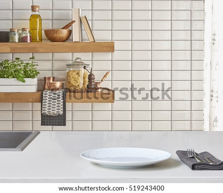 Modern Kitchen Background background modern tiles wall white table stock photo 519243406