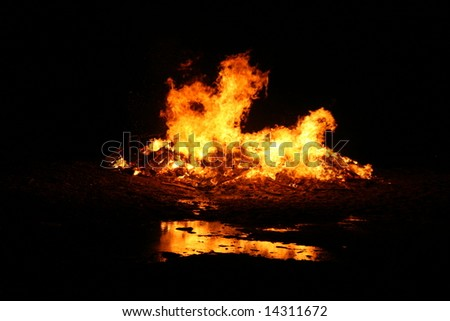 background of a bonfire, hot warm reflection, fire isolation - stock photo