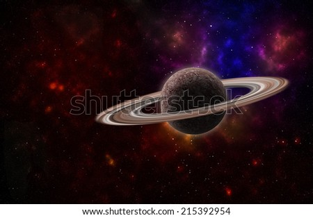 background of a deep space star field and planet with rings