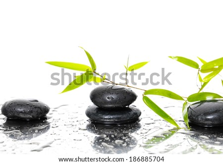 background of a spa with stones and bamboo - stock photo