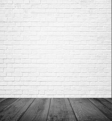 Background Of Age Grungy Texture White Brick And Stone Wall With Light Wooden Floor Whiteboard