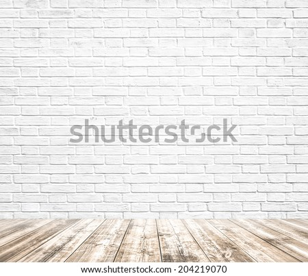 Background of age grungy texture white brick and stone wall with light wooden floor with whiteboard inside old modern and contemporary empty interior, blank color horizontal space of clean studio room - stock photo