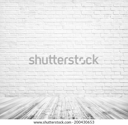 Background of age grungy texture white brick and stone wall with light wooden gray floor, whiteboard inside old modern and contemporary empty interior Blank color horizontal space of clean studio room