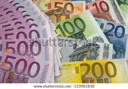 Background of All types of Euro banknotes