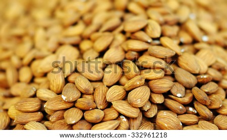 Background of almonds nuts - stock photo