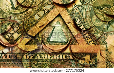 background of American dollars and coins, double exposure - stock photo