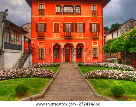 Background of an ancient villa, Orta, Piedmont, Italy - stock photo