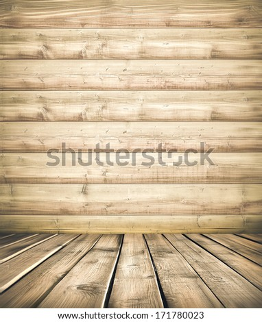 Background of an old natural wooden darken room with messy and grungy cracked tree floor of beech texture inside vintage neglected and deserted warm rural interior with soft shadows, dingy, dim light