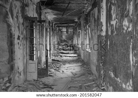 Background  of an old ruinous burnt corridor with doors and windows. White and black backdrop Horror style long room