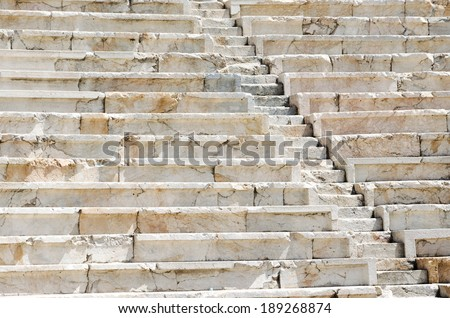 Background of ancient stairs. Fragment of the ancient roman amphitheater, old town of Plovdiv, Bulgaria.