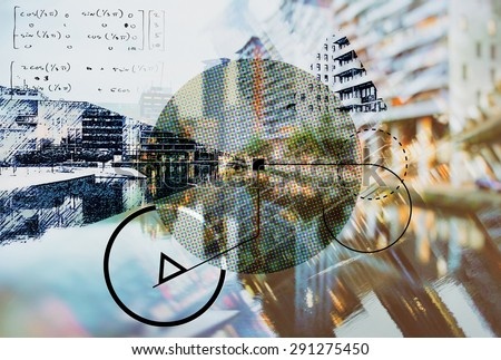 background of architecture with geometric elements, sketched and double exposure