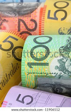 Background of Australian notes, soft-focus. - stock photo