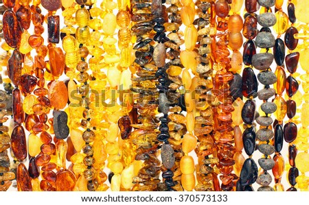 Background of baltic amber necklaces