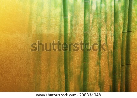Background Of Bamboo Forest And Gold Folding Screen