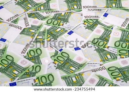 Background of banknotes 100 euros. Top and side views - stock photo
