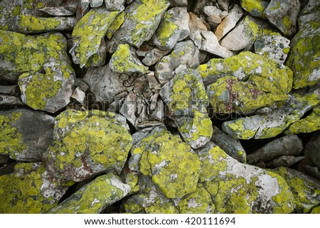 Background of  basalt mountains rocks covered with green moss - stock photo
