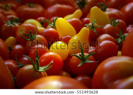 Background of beautiful red an yellow cherry tomatoes