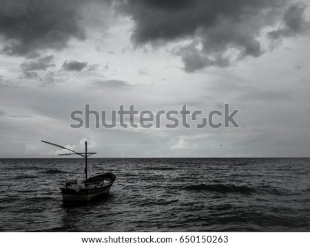 Background of black and white sea.