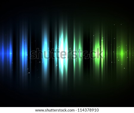 Background of blue and green lights in the dark - stock photo