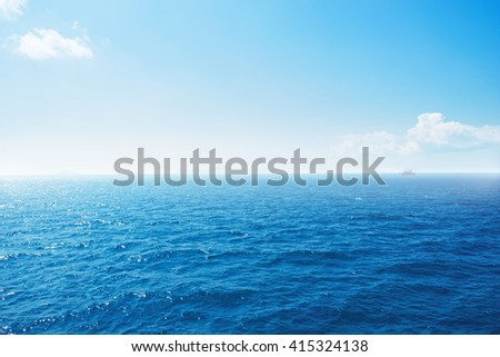 Background of blue sky and blue sea.