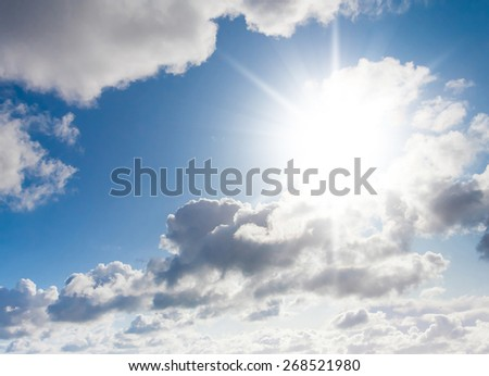 Background of Blue Sunny Heaven  - stock photo