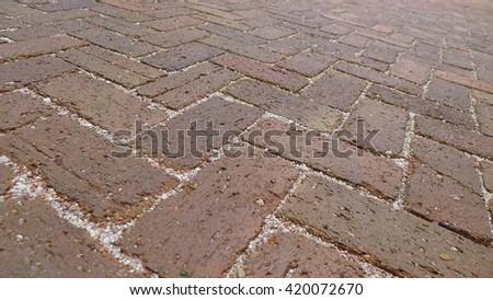 Background of brick floor texture - stock photo