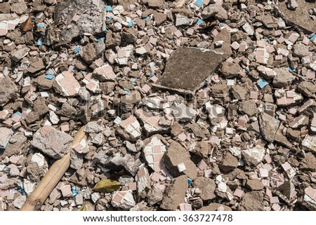 background of brick rubble debris - stock photo