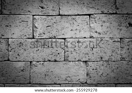 Background of brick wall texture, black and white tone - stock photo