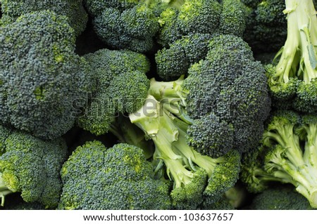 background of broccoli heads